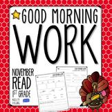 Morning Work - Reading - November (1st Grade)