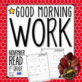 Morning Work - Reading - November (1st Grade)