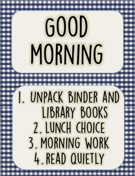 Good Morning, routine, checklist, camping theme, poster