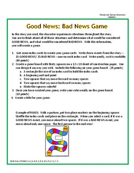 Text Analyzing Game:Good News Bad News