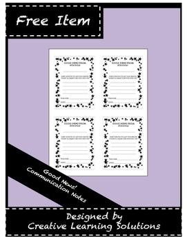 Good News! Teacher to Parent Communication Note Sheet