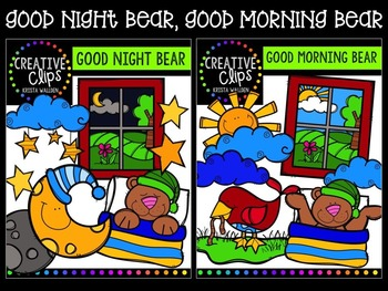 Good Night, Good Morning Bear {Creative Clips Digital Clipart}