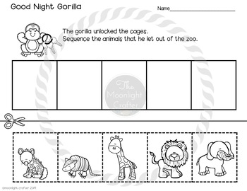 Good Night Gorilla Sequencing Book Companion for Distance Learning