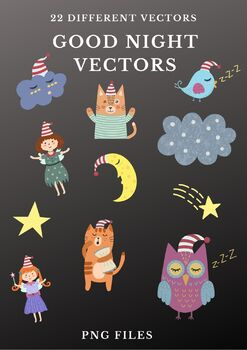 Good Night Vector Clipart Vol 1