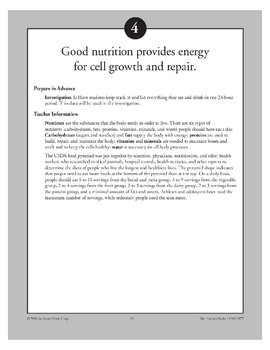 Good Nutrition Provides Energy for Cell Growth and Repair