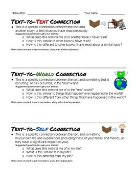 Good Readers Make Connections - Handout and Worksheets