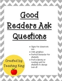 Good Readers: Readers Ask Questions When Reading Chart Sign for Reading Wall