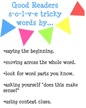 Good Readers Solve Tricky Words Poster