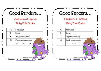 """Good Readers"" Sticky Note Code Cards"