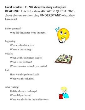 Good Readers THINK during reading poster