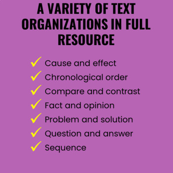 Text Organization Activities for Any Text FREEBIE