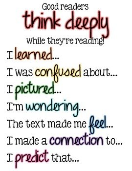 Good Readers Think Deeply Sentence Frames - POSTER