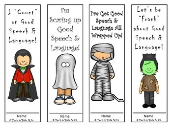 Good Speech & Language Halloween Bookmarks