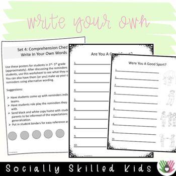 SOCIAL SKILLS: Good Sport Reminders~ Visual Support