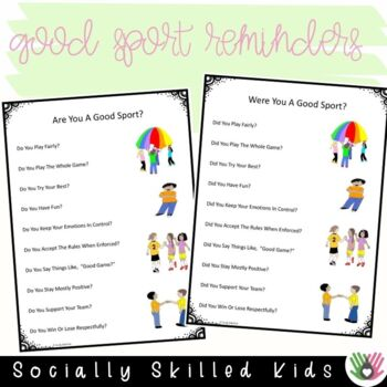 SOCIAL SKILLS Good Sport Reminders  {6 Differentiated Posters}