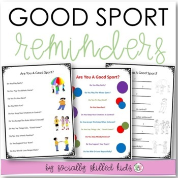 SOCIAL SKILLS: Good Sport Reminders~ Visual Support