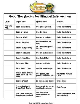Good Storybooks for Bilingual Intervention - FREEBIE