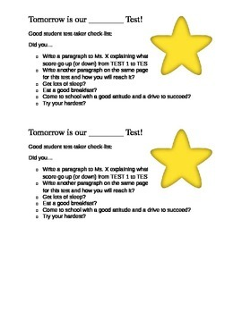 Good Student Test Taker Check List