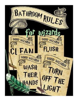 Good Wizards Bathroom Rules, Signs (Hogwarts, Harry Potter)