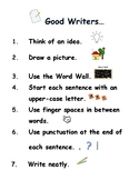 Good Writers Checklist, My Word Wall Book, and Writing Journal