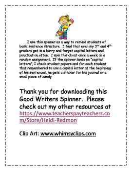 Good Writers Spinner