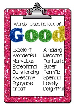 Good Writers Use FANCY Words. Vocabulary Posters for Upper Primary