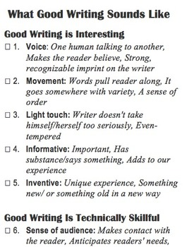 Good Writing assessment checklist