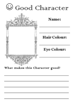 Good and Evil Character Worksheets