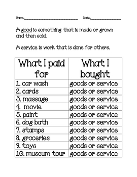 Free 1st Grade Economics Worksheets | Teachers Pay Teachers