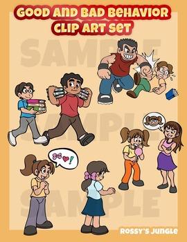 Good and bad behavior clip art set