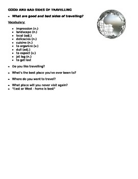 Good and bad sides of traveling (Handout)