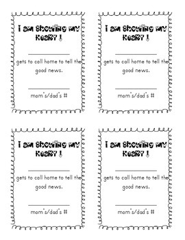 Good behavior note to call home