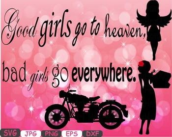 Good girls vs bad girls heaven clip art svg word art Silhouette valentines -287s