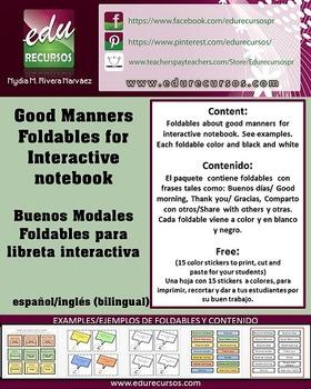 Good manners:Foldables interactive notebook/Buenos modales:Libreta interactiva