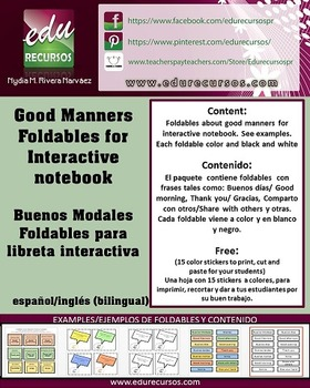 Good manners:Foldables interactive notebook/Buenos modales:Libreta interactiva