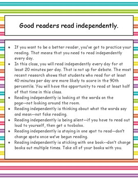 Good readers read independently minilesson, poster, printable