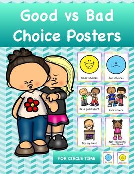 Social Skills:  Good vs Bad Choice Wall Charts & Circle Time Activity