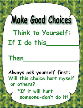 Good vs. Bad Choices  -  Teaching Students Decision Making - 55 pages