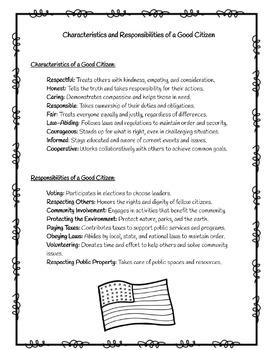 Good vs. Bad Citizenship Quiz  Social Studies Ohio Model Curriculum