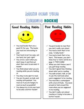 Good vs Bad Reading Habits Chart