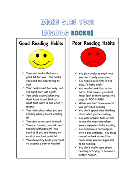 Good vs Bad Reading Habits Chart