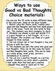 Good vs Bad Thoughts Lesson Cards to teach students Positive Thinking
