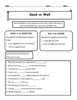 Good vs Well Notes and activity