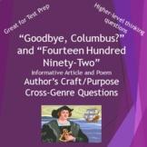 Goodbye, Columbus & Fourteen Hundred Ninety-two Cross-Genre Questions