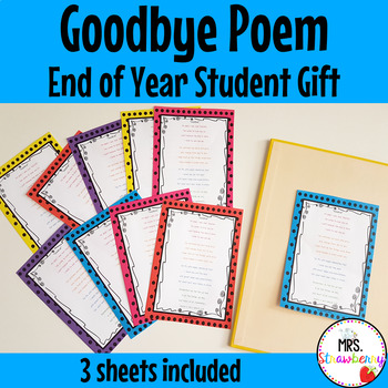Goodbye Poem - End of Year Student Gift