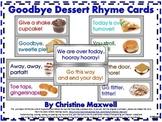 Goodbye Rhymes or Sayings Dessert Cards