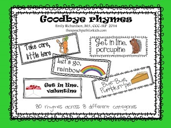 Goodbye Rhymes {freebie}