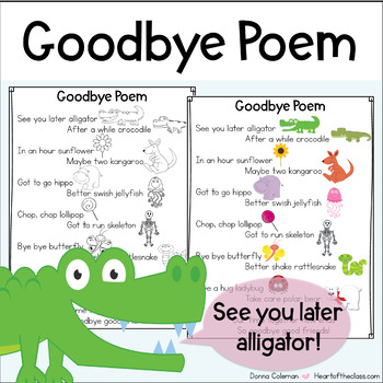 Goodbye Rhyming Poem By Donna Coleman Teachers Pay Teachers