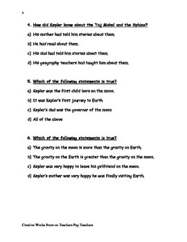 Goodbye to the Moon (Reading Quiz + Vocabulary Sheet)