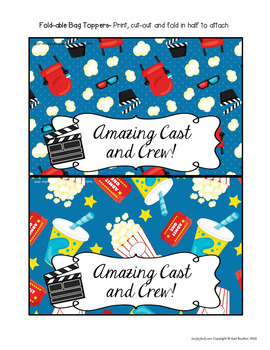 Goodie Bag Toppers (Movie Star/Awards Ceremony Theme)